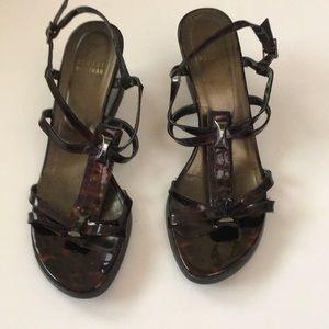 STUART WEITZMAN Tortoise Patent wedge sandals